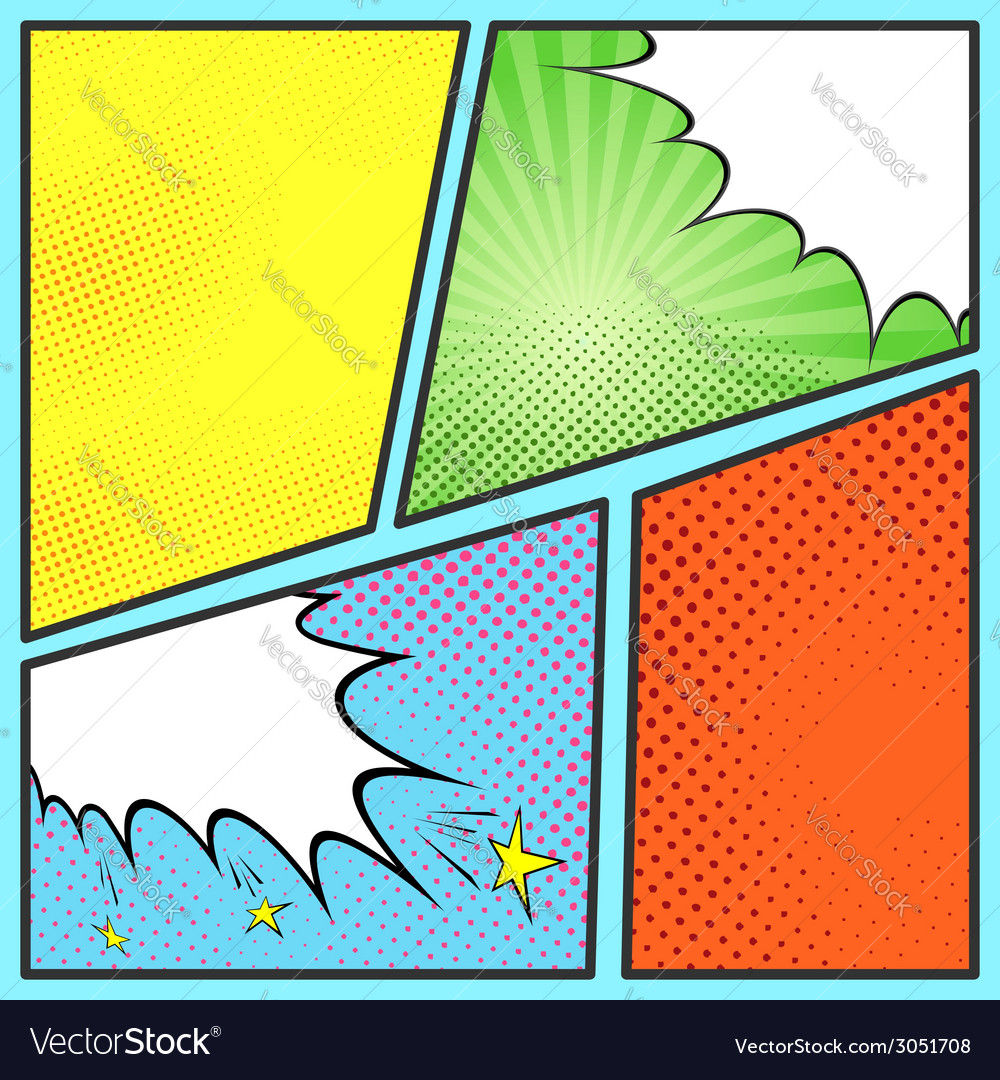 Pop Art Comic Page Sheet Template Royalty Free Vector Image