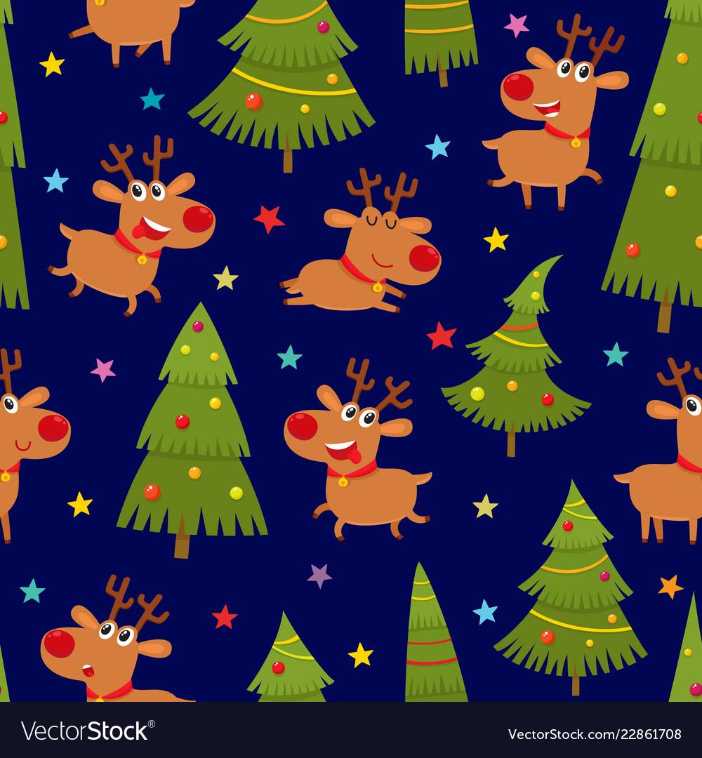 Seamless pattern with cartoon reindeers