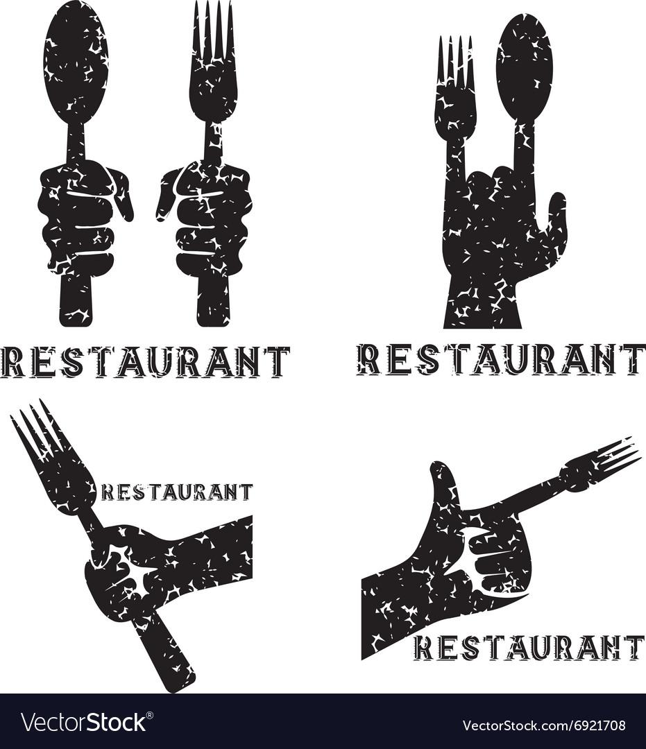 Set of grunge vintage emblems of restaurant with
