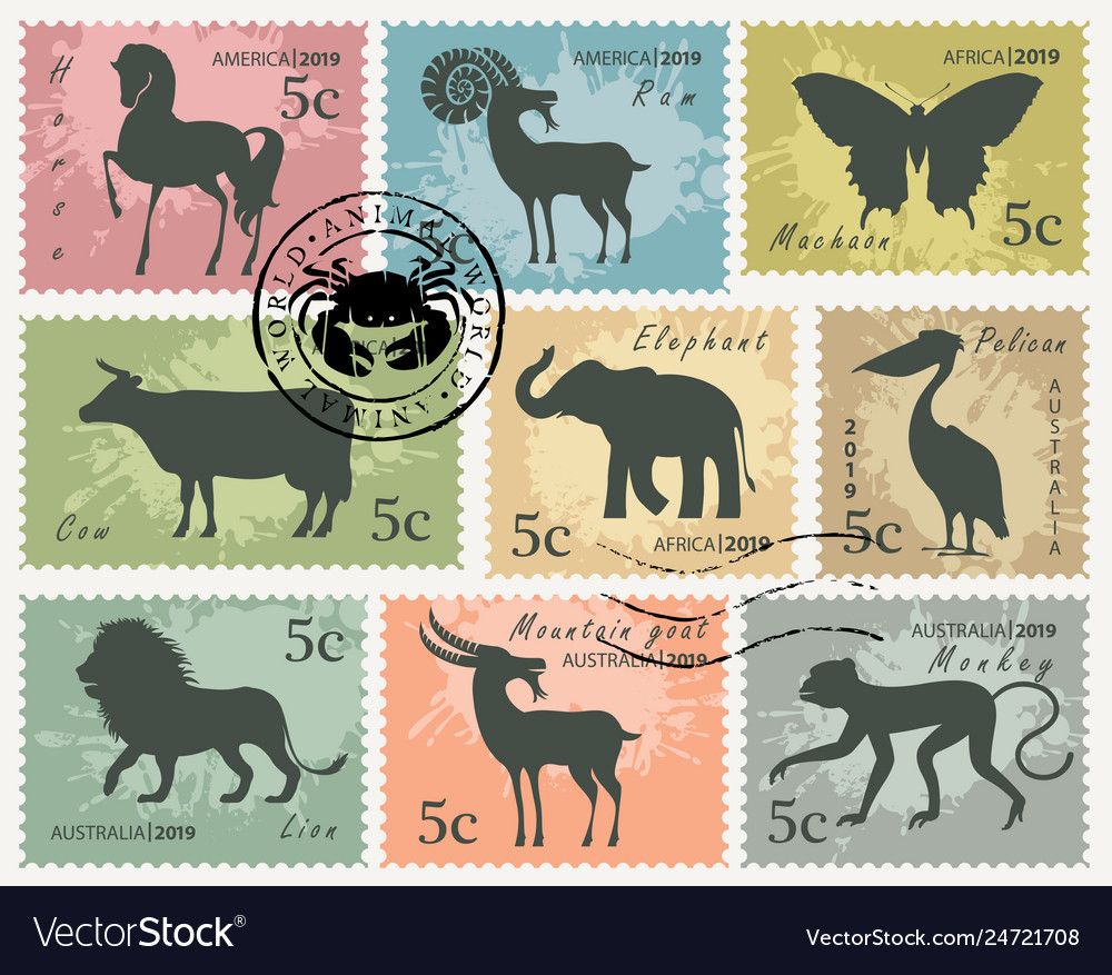 Set postage stamps with animals and birds