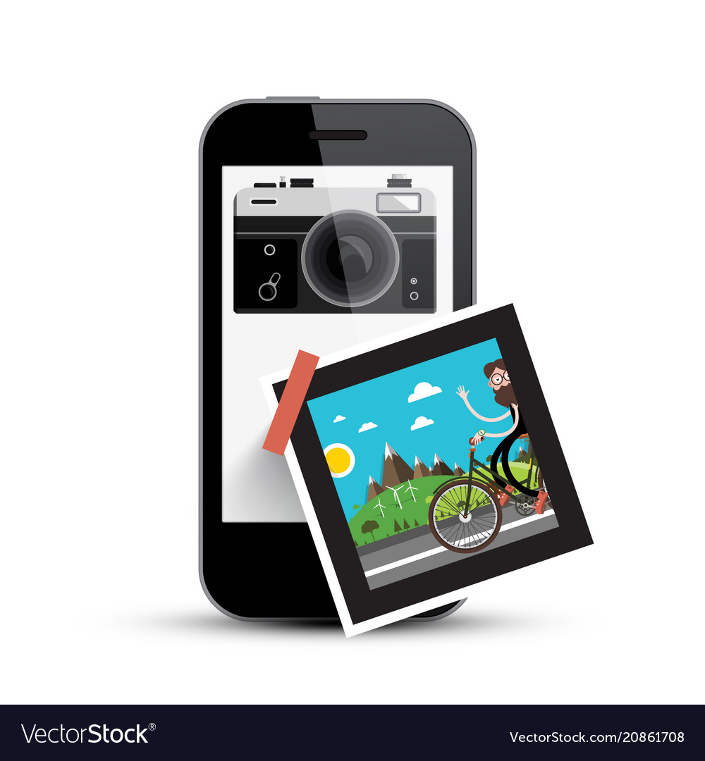 Smartphone with retro camera and picture on paper vector image