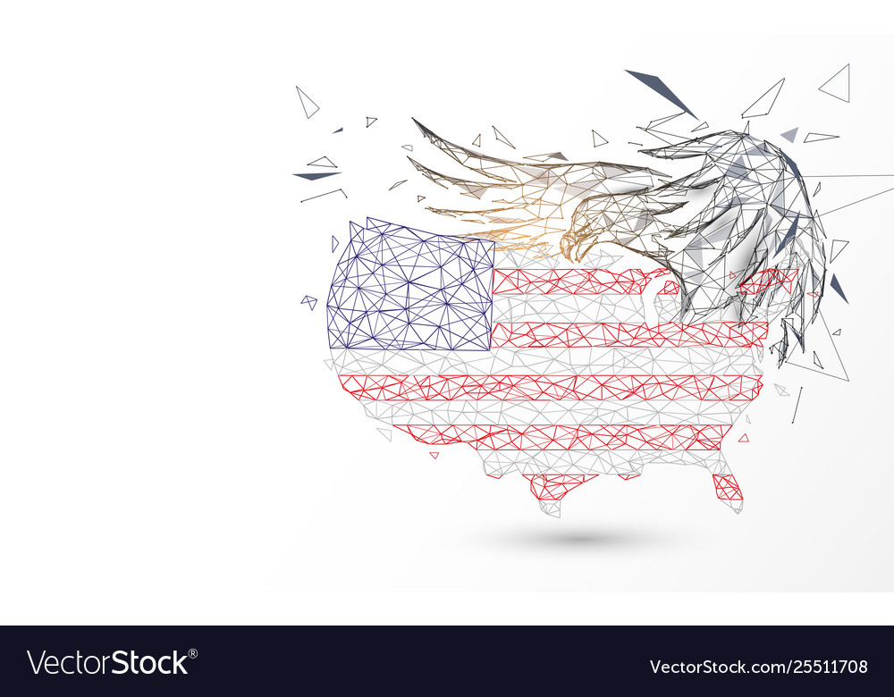 Usa map with american eagle from lines triangles