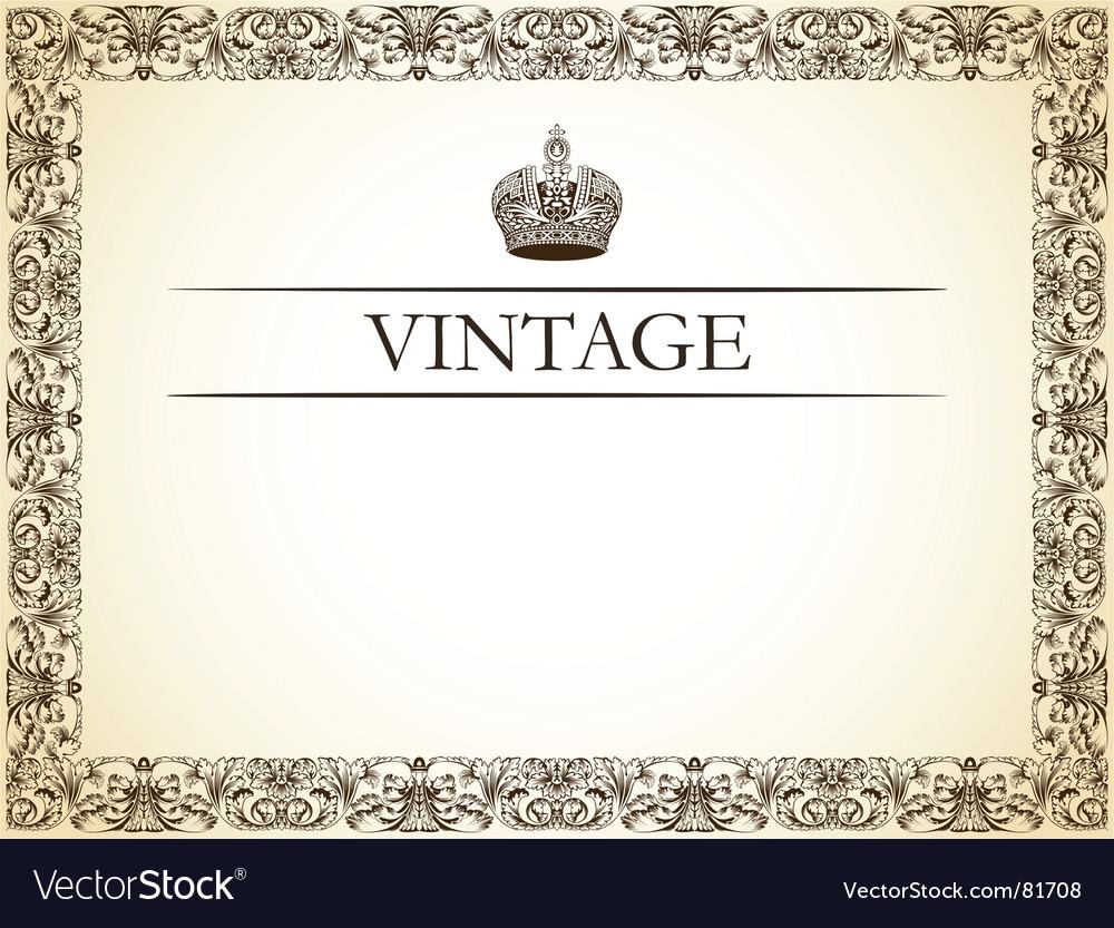 Vintage frame decor vector image
