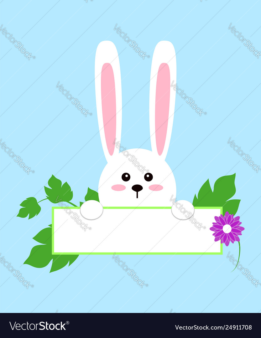 White easter rabbit funny bunny in flat style