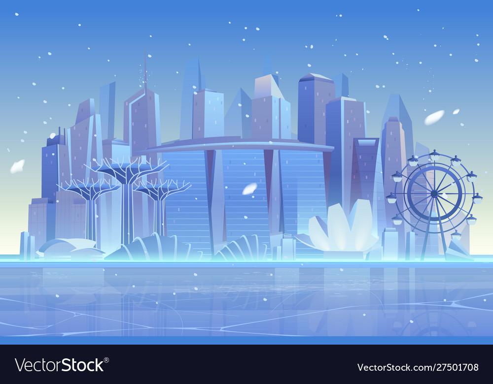 Winter city skyline at frozen bay architecture