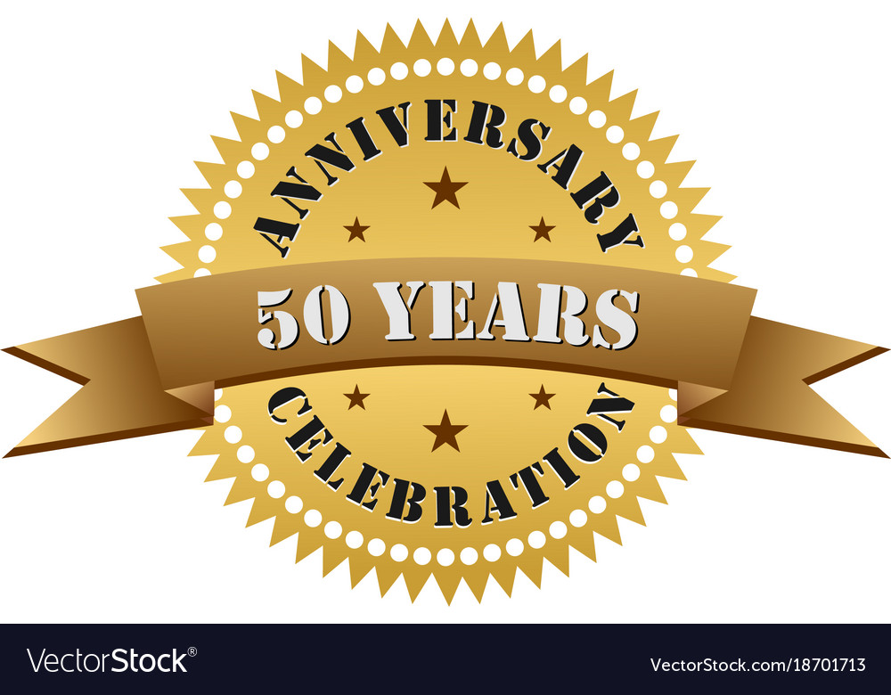50 Years Anniversary Celebration Gold Logo Vector Image