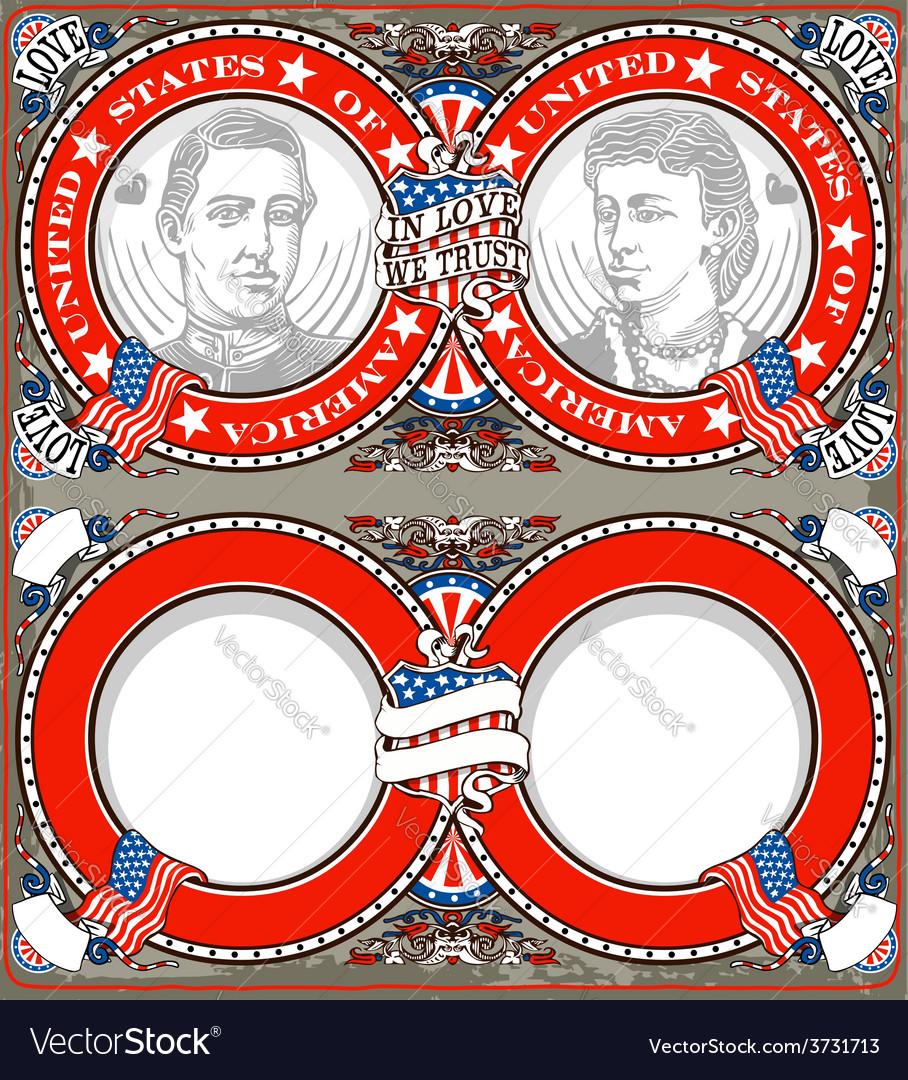 American Vintage Patriot Wedding Invite Royalty Free Vector