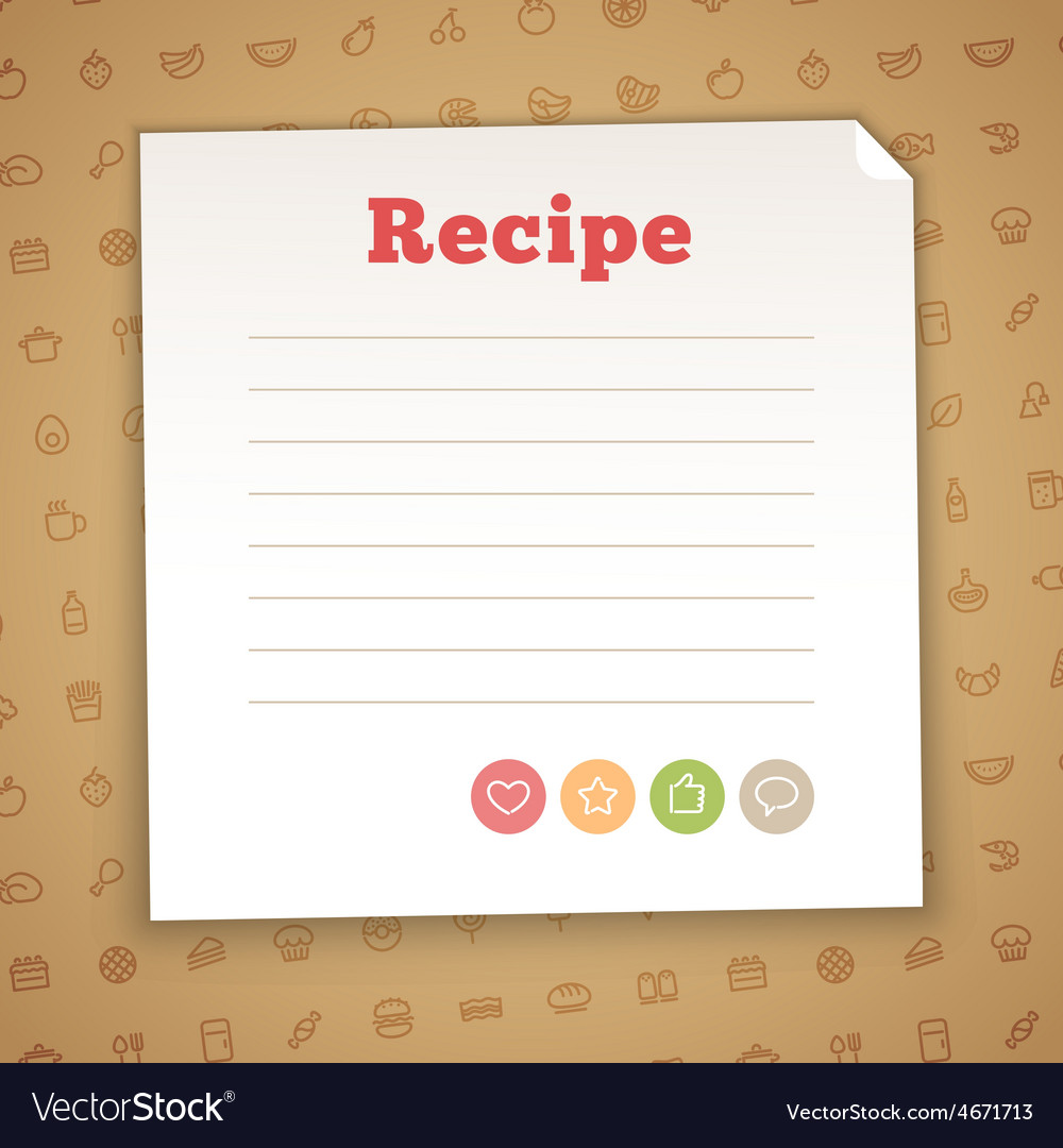 Blank Recipe Card Template Royalty Free Vector Image