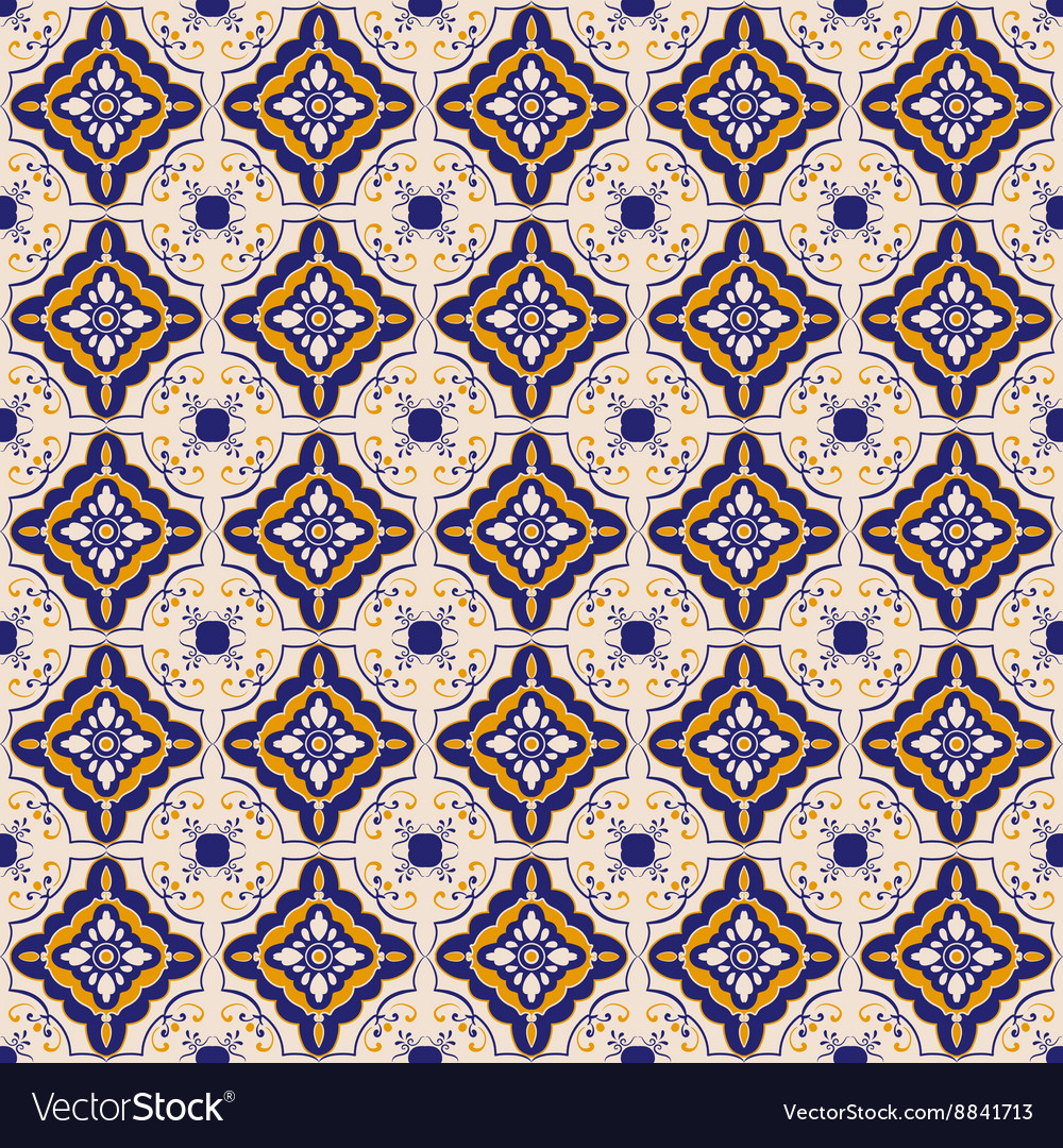 Blue and yellow ceramic tile pattern Royalty Free Vector