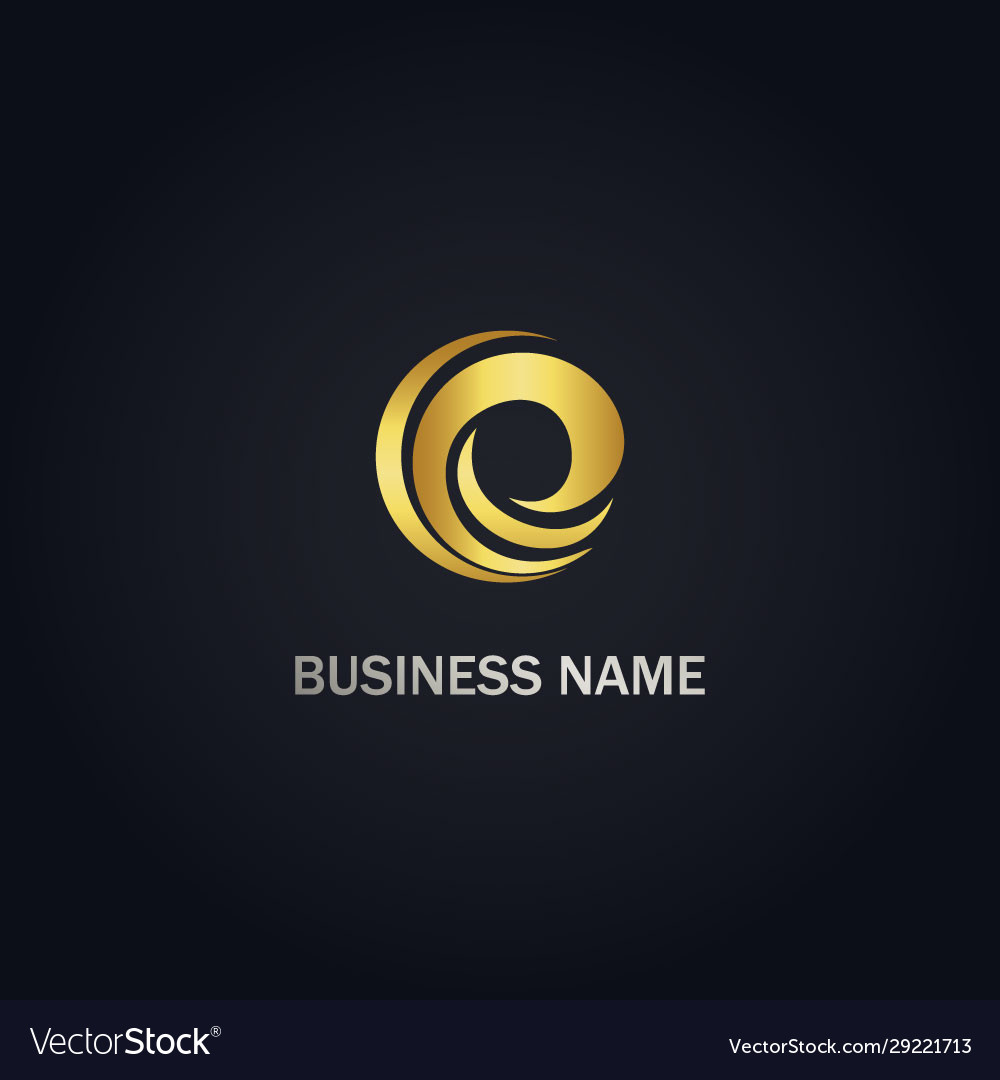 Circle curve e initial abstract gold logo