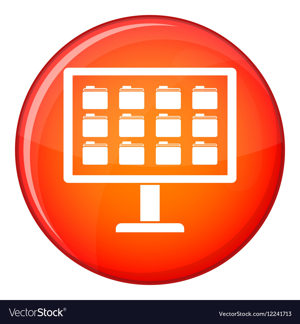 Desktop of computer with folders icon flat style