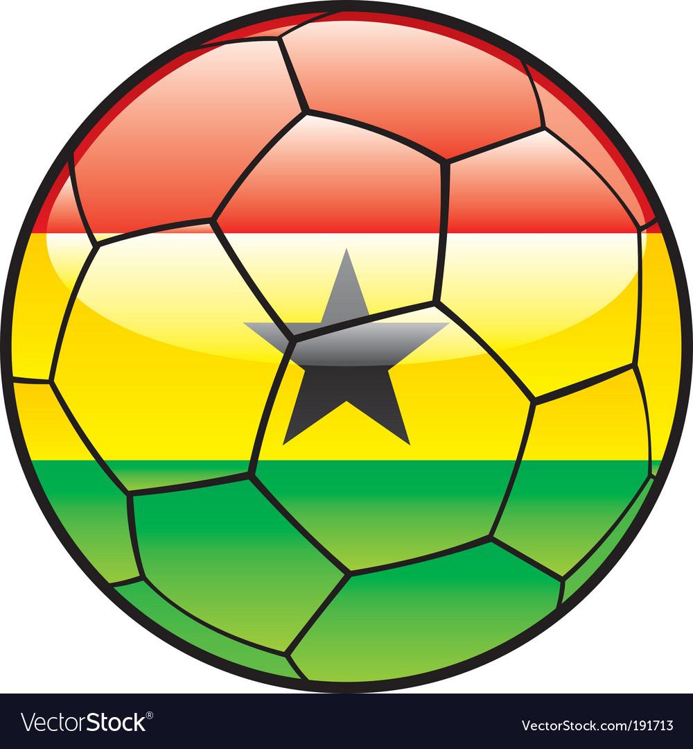Flag of Ghana on soccer ball vector image