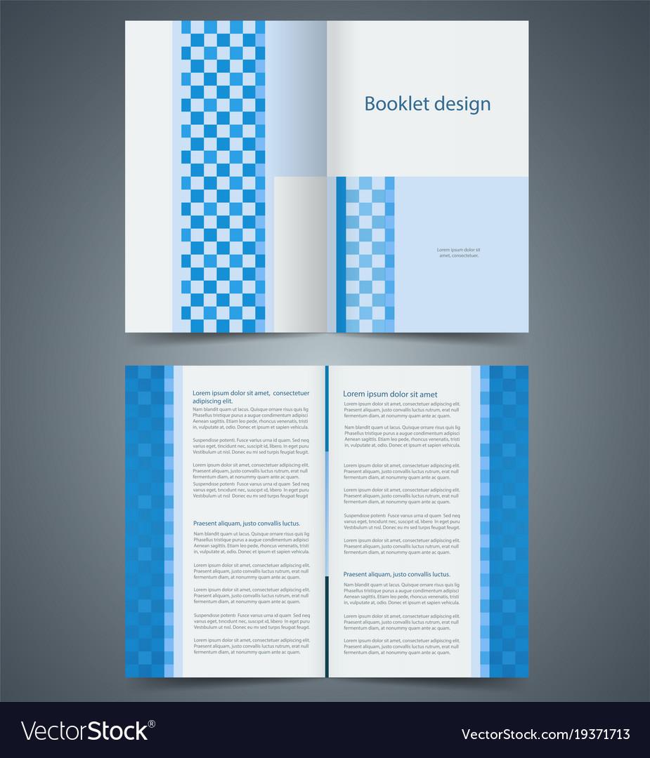 Geometric Blue Bifold Brochure Template Design Vector Image - Bifold brochure template