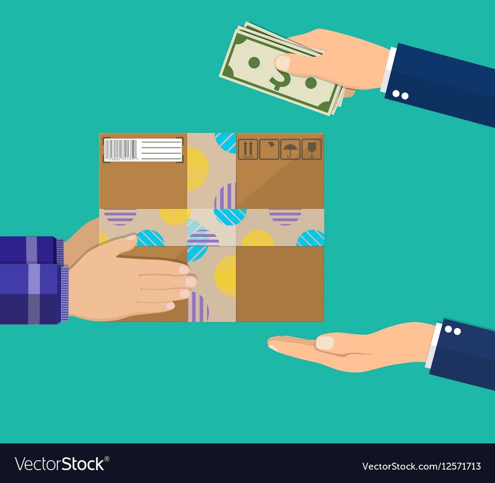 Human hand holds money and pay for the package vector image