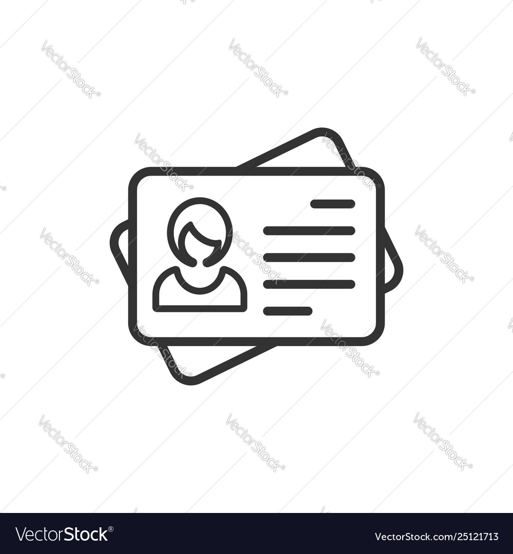 Id card icon in flat style identity tag on white