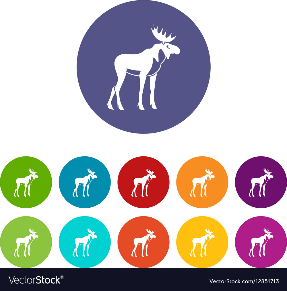 Moose set icons vector image