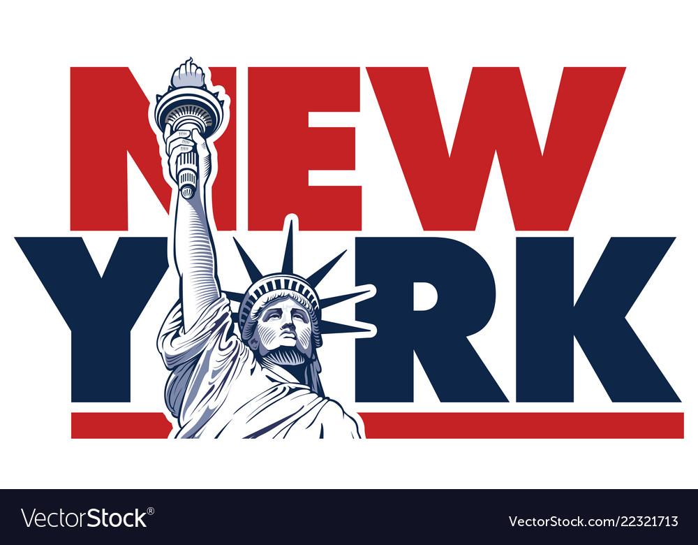 New york city and statue of liberty usa symbol