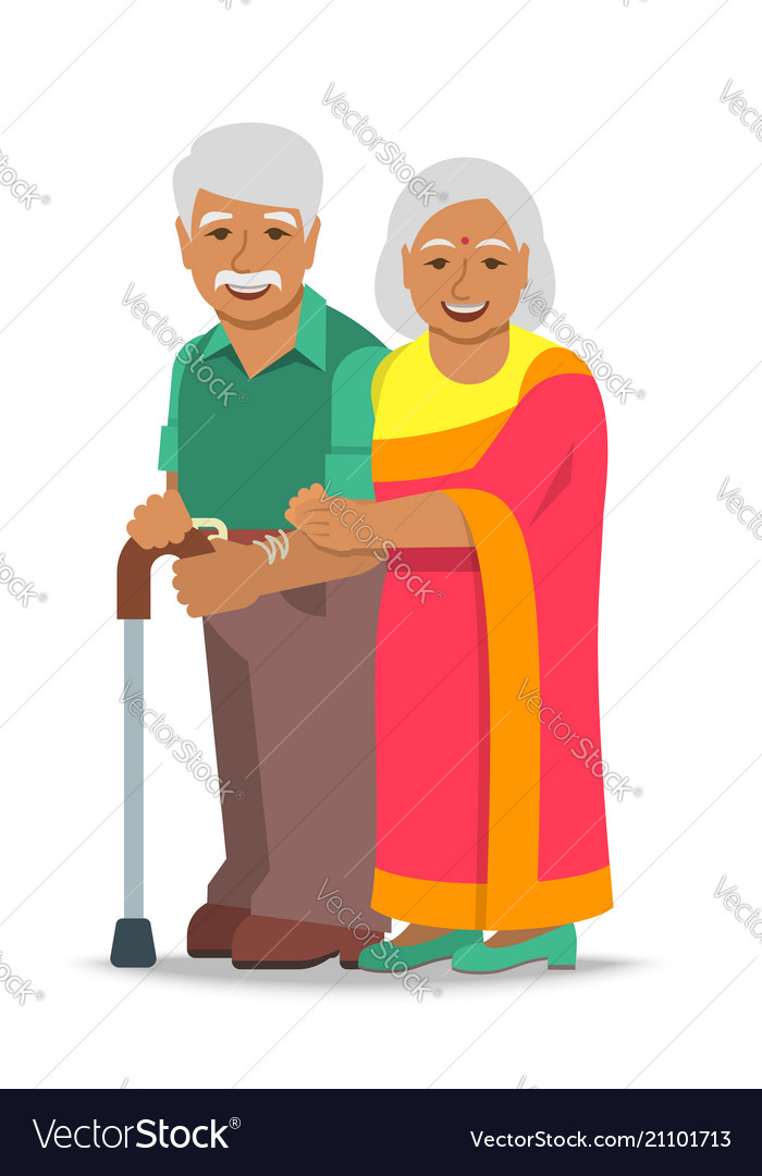 Old couple indian man and woman standing together