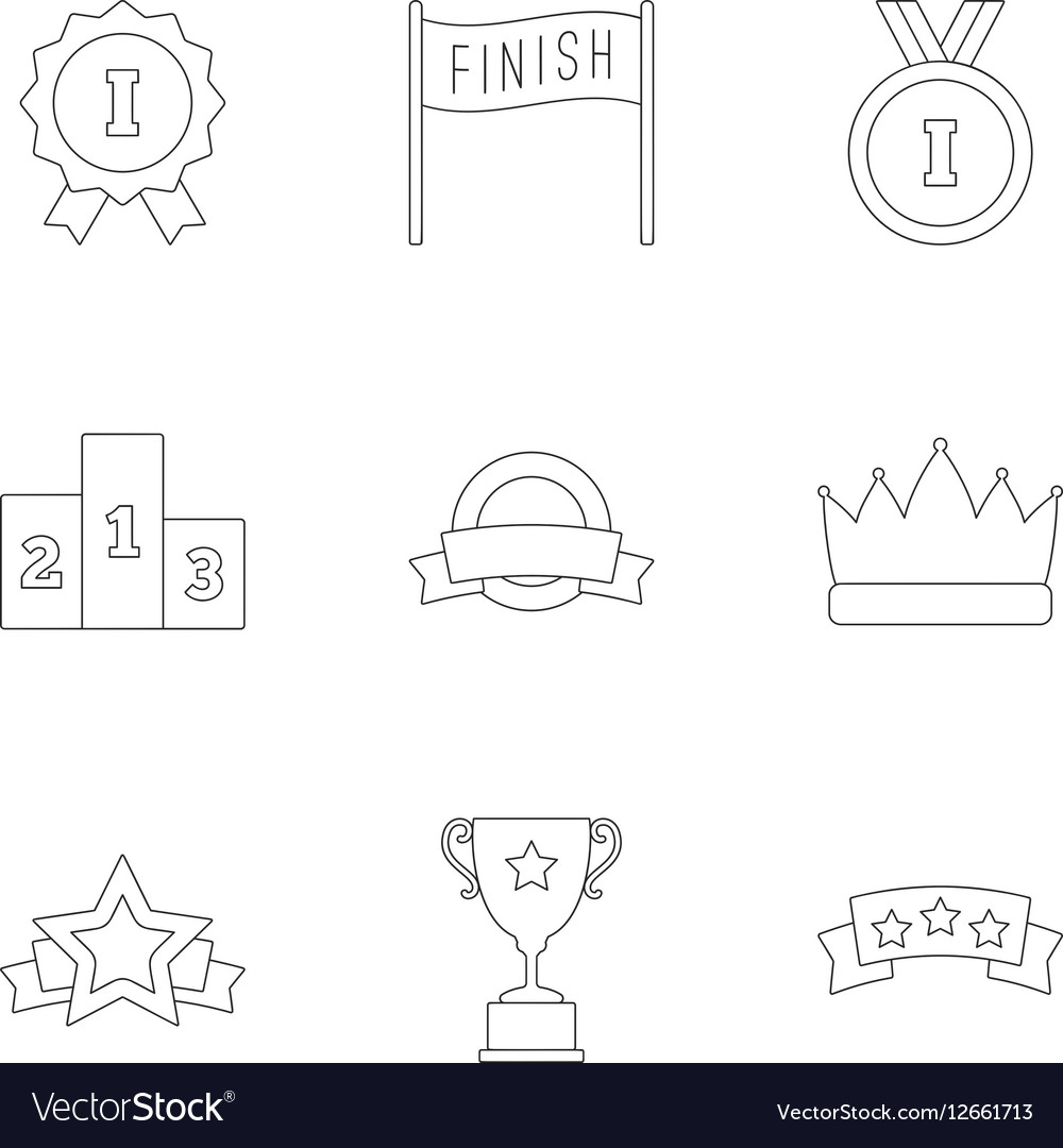 Prize award icons set outline style vector image