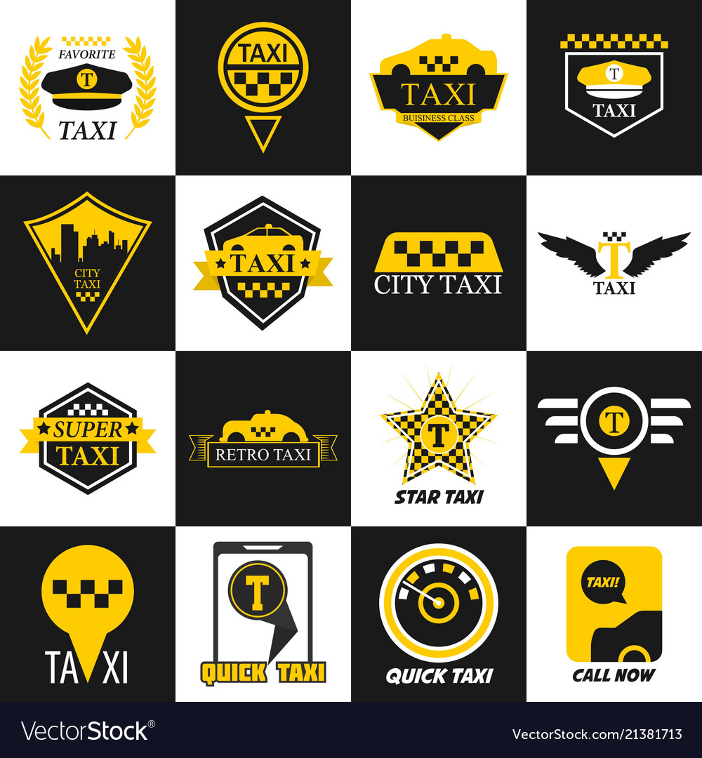Taxi retro car yellow icons
