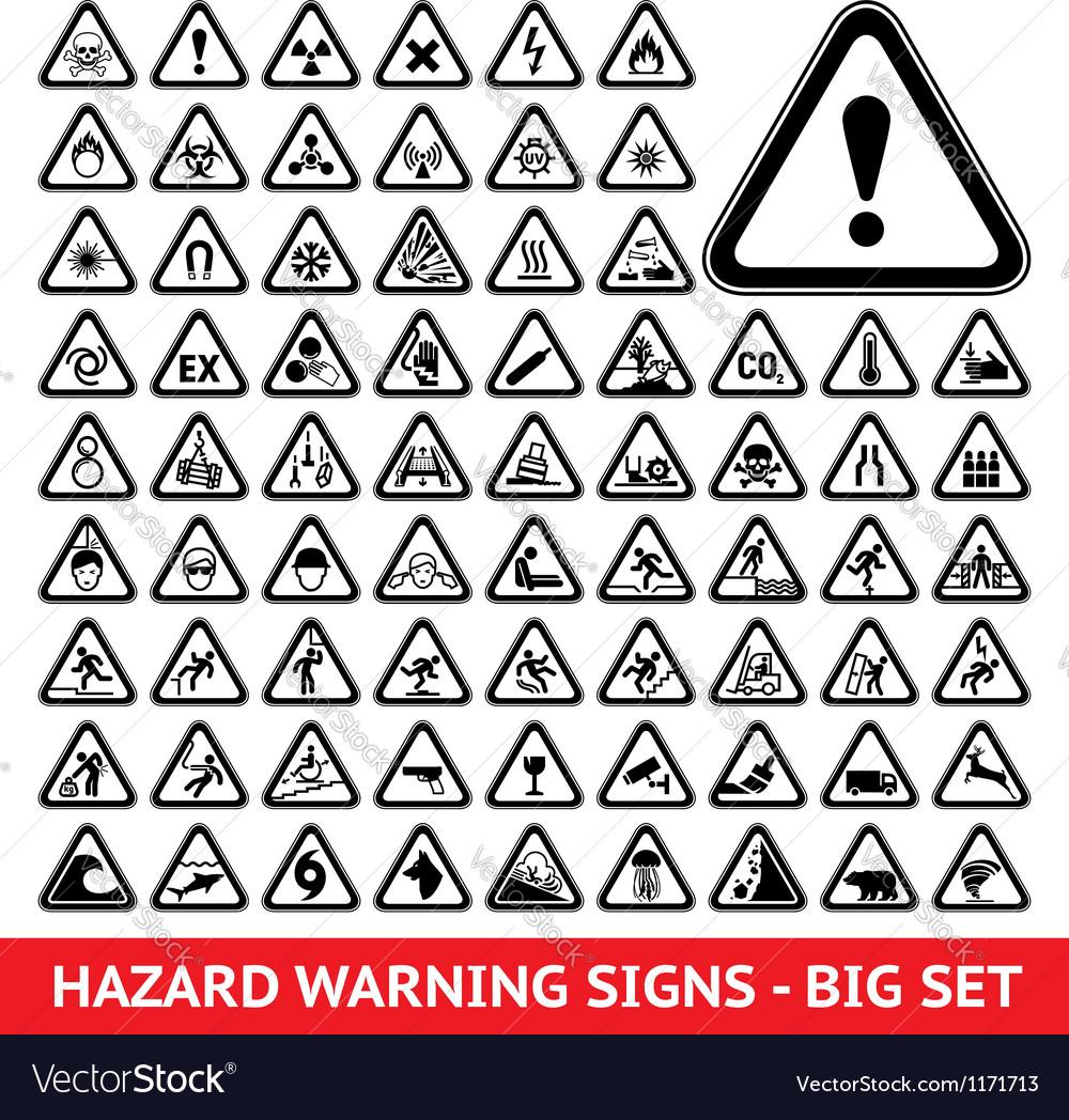 Triangular Warning Hazard Symbols Big set vector image