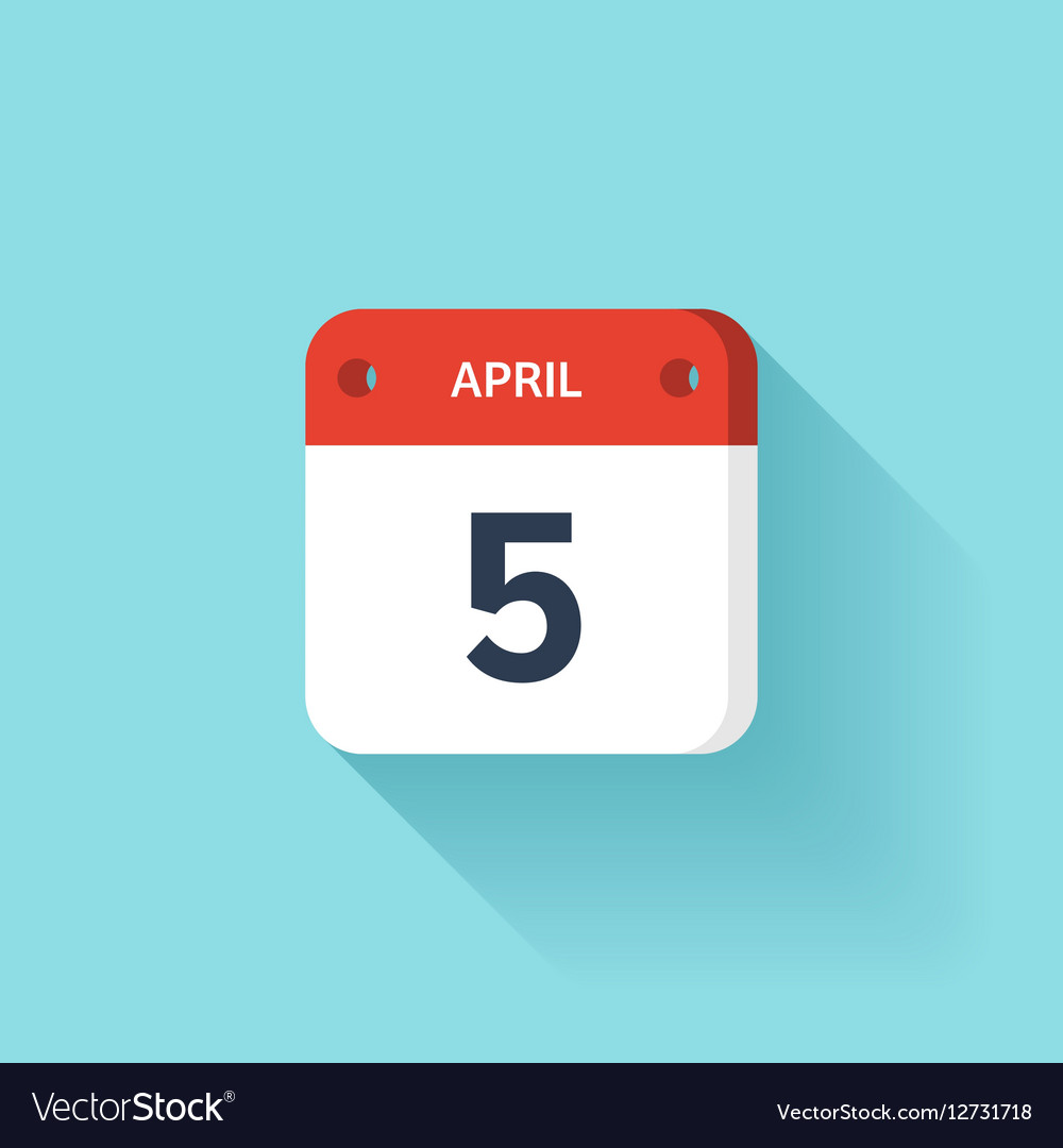 April 5 Isometric Calendar Icon With Shadow vector image