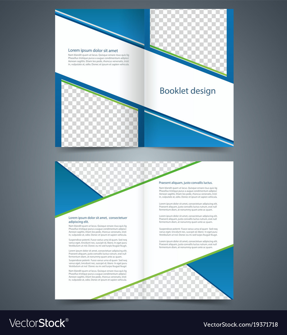 blue bifold brochure template design business vector image