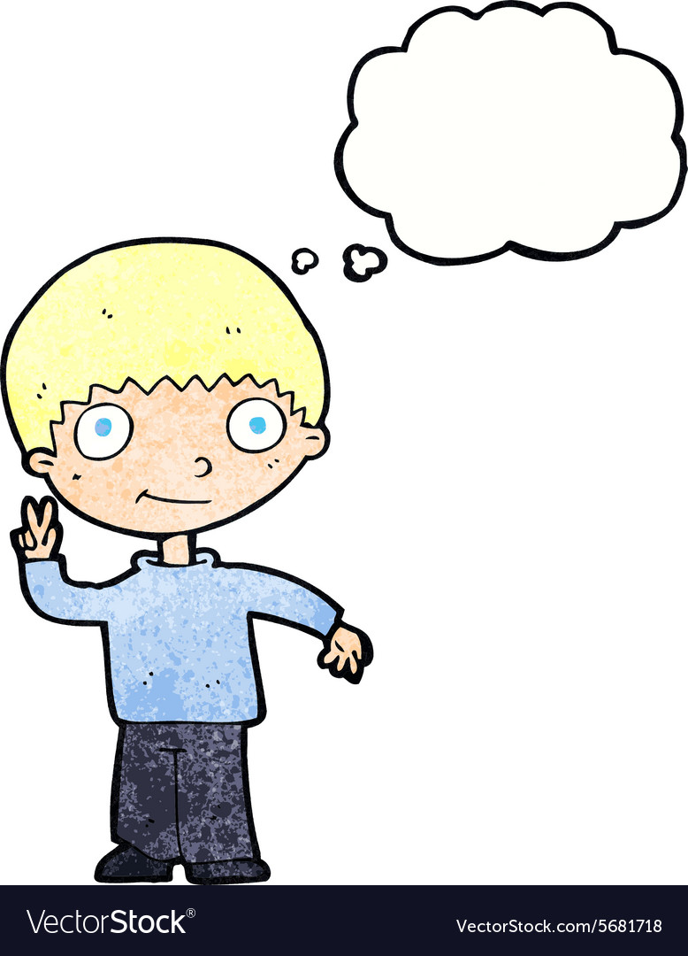 Cartoon boy giving peace sign with thought bubble vector image