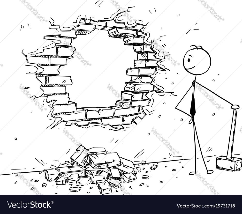 Conceptual Cartoon Businessman Breaking A Wall Vector Image