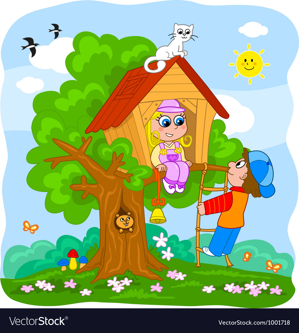 Cute kids on Treehouse vector image