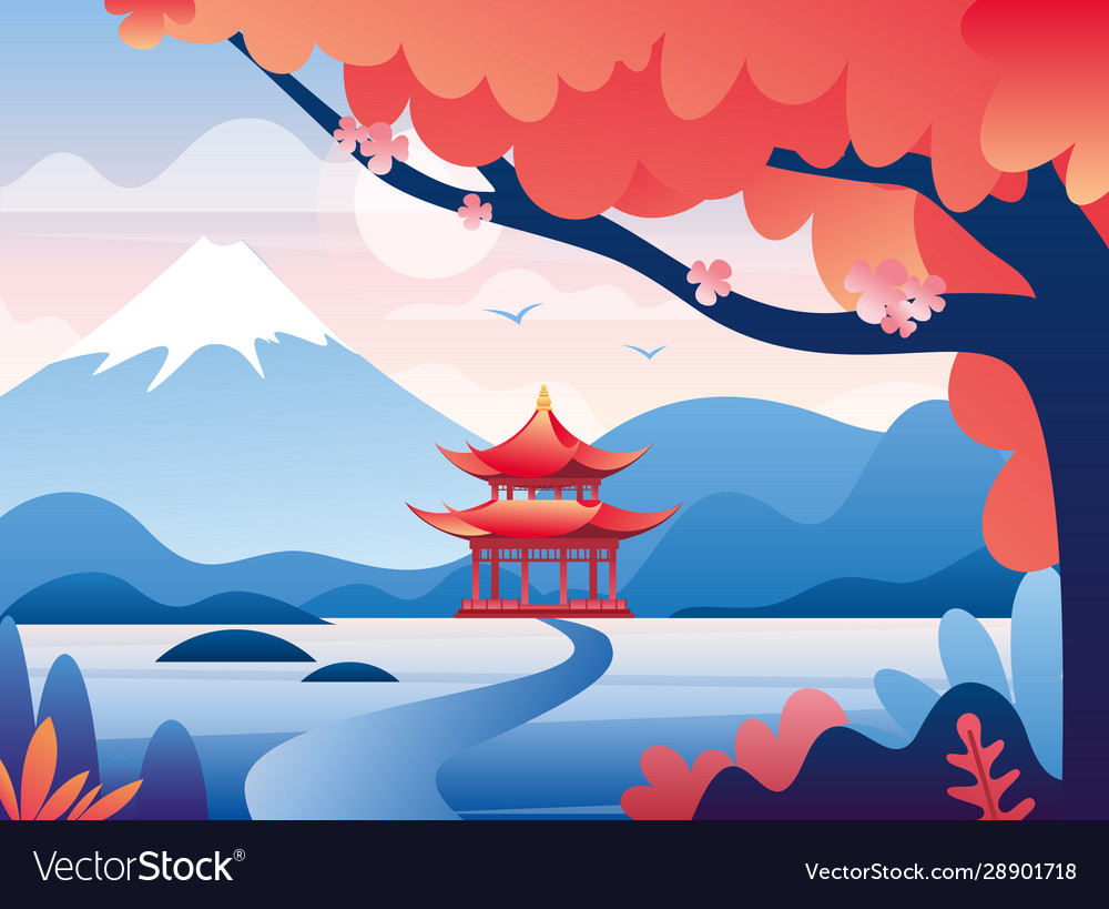 Japanese red castle and snowy fuji mountain peak
