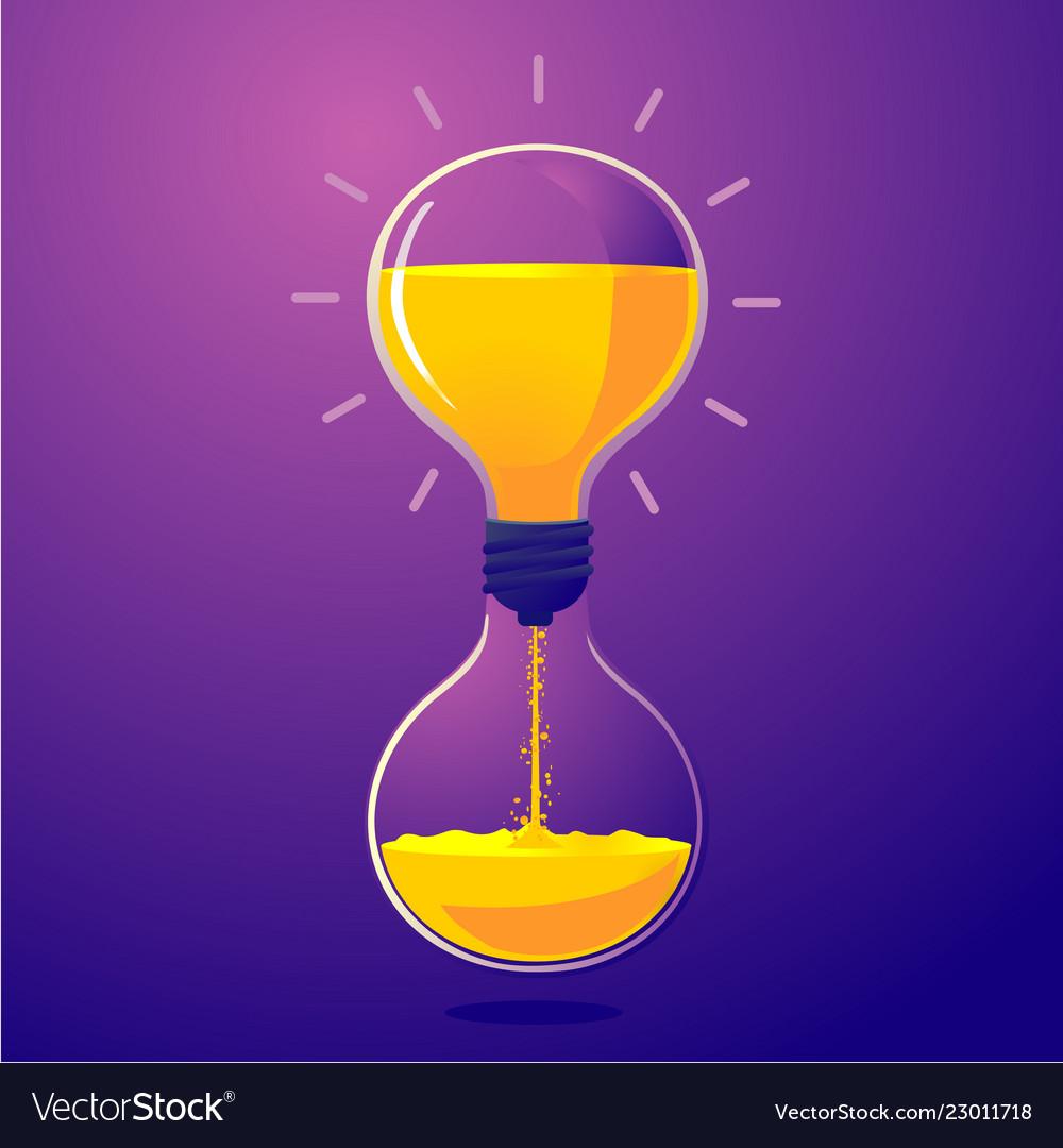 Light bulb and sand clock creative idea
