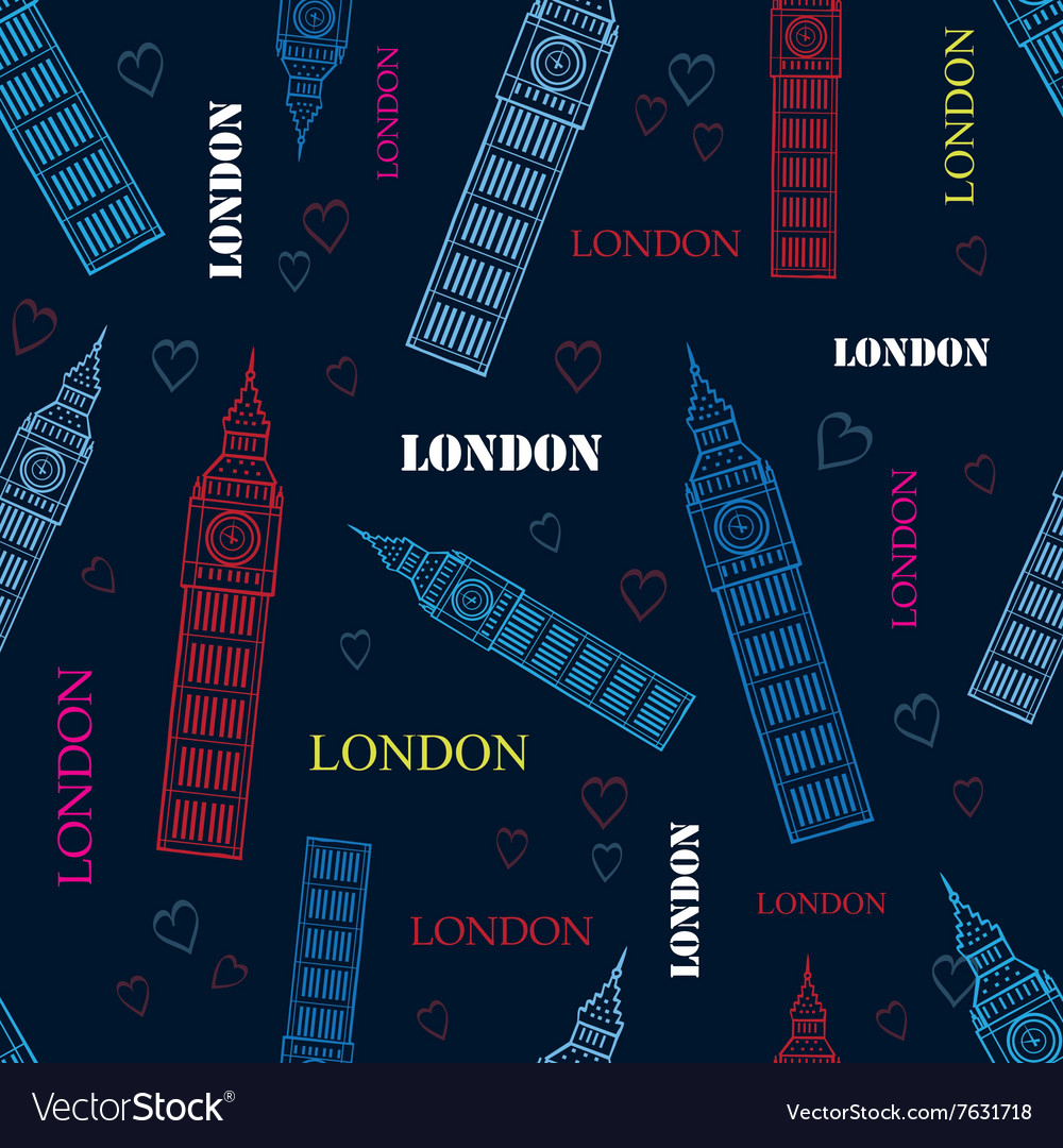 London Big Ben Tower Dark Blue Seamless