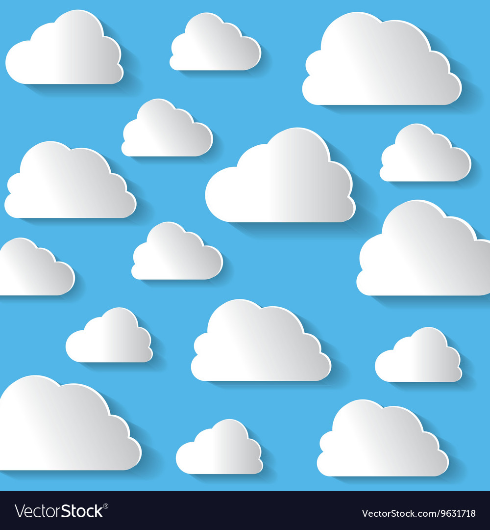Many White Clouds On Blue Background