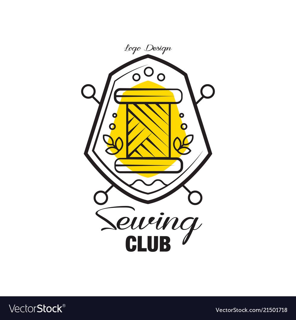 Sewing club logo design emblem with heraldic