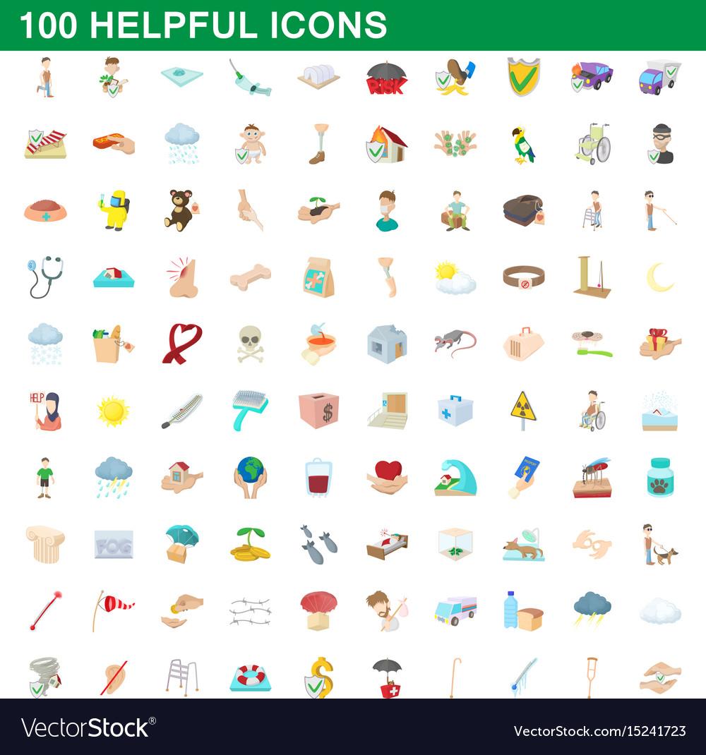 100 helpful icons set cartoon style