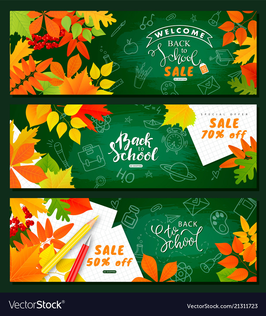 Back to school saleset horizontal banners