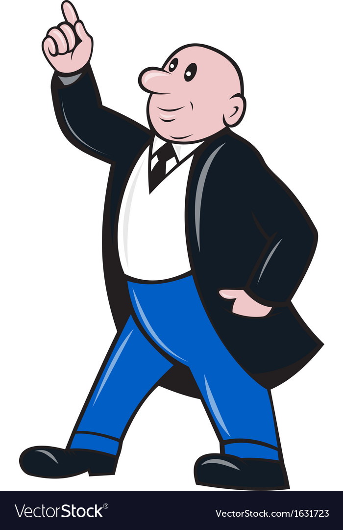 Bald Businessman Pointing Up