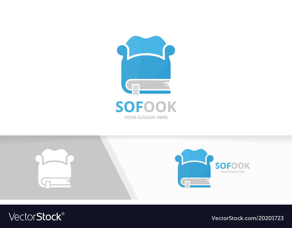 Book and sofa logo combination couch and vector image
