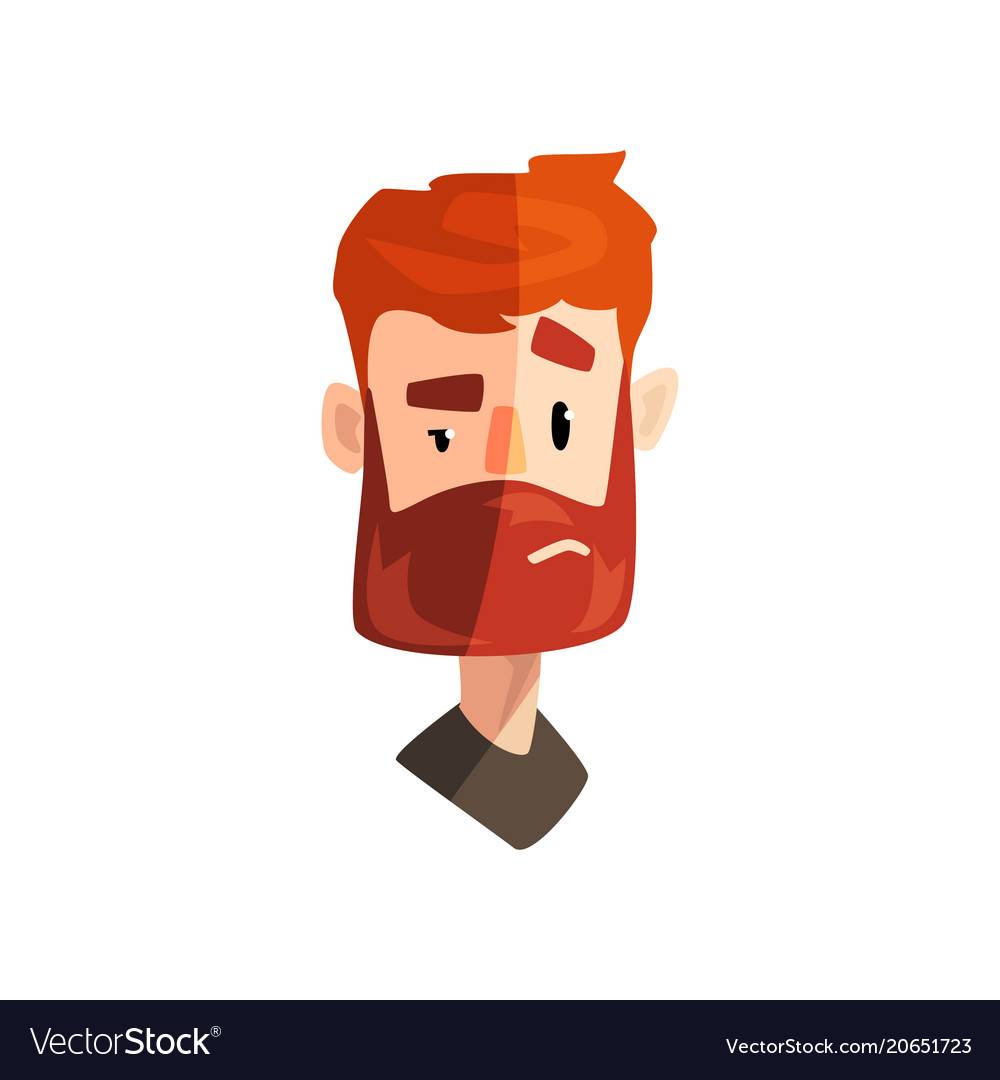Doubting redhead bearded man male emotional face