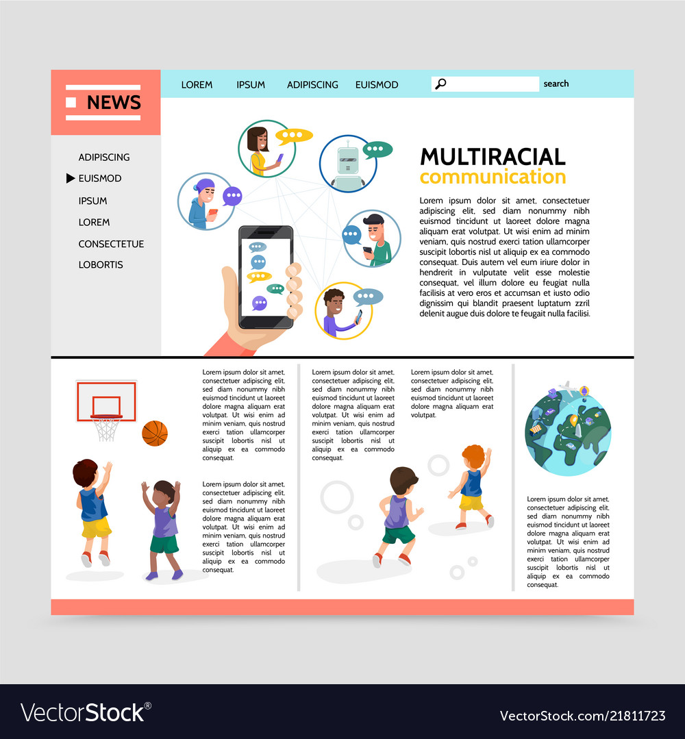 Flat multiracial communication webpage concept