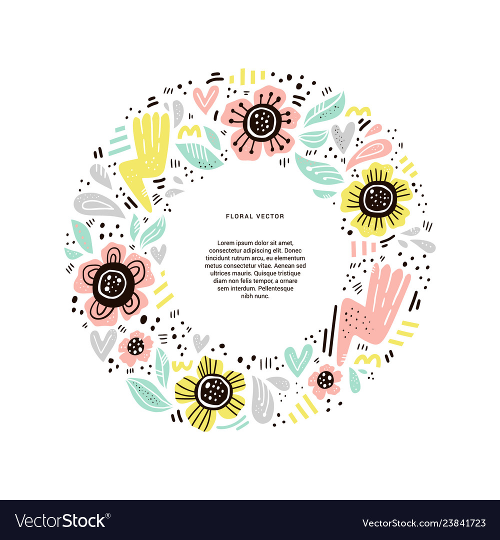 Floral round flat hand drawn frame