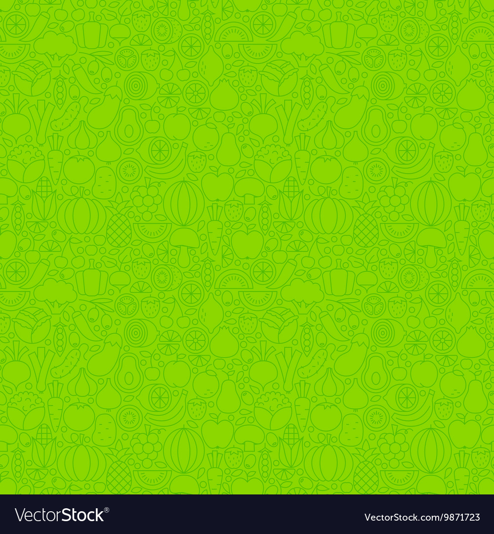 Green Thin Line Fruits Vegetables Seamless Pattern