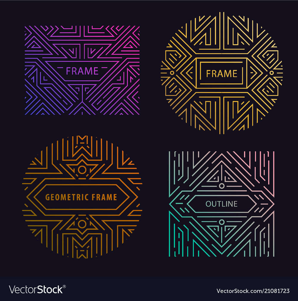 Monogram design elements in trendy vintage vector image