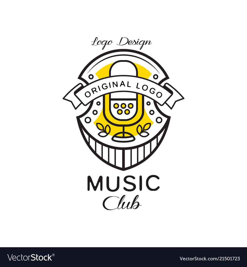 Music club logo design heraldic shield with retro