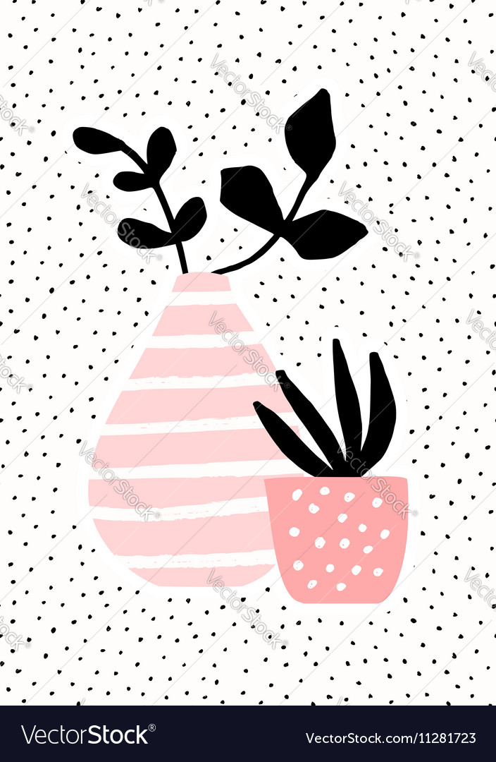 Pink Vase and Pot with Plants vector image