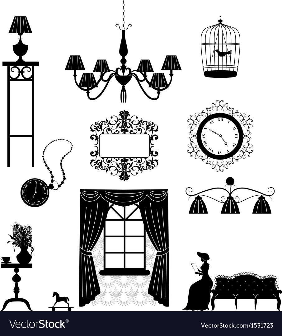Retro furniture silhouettes vector image