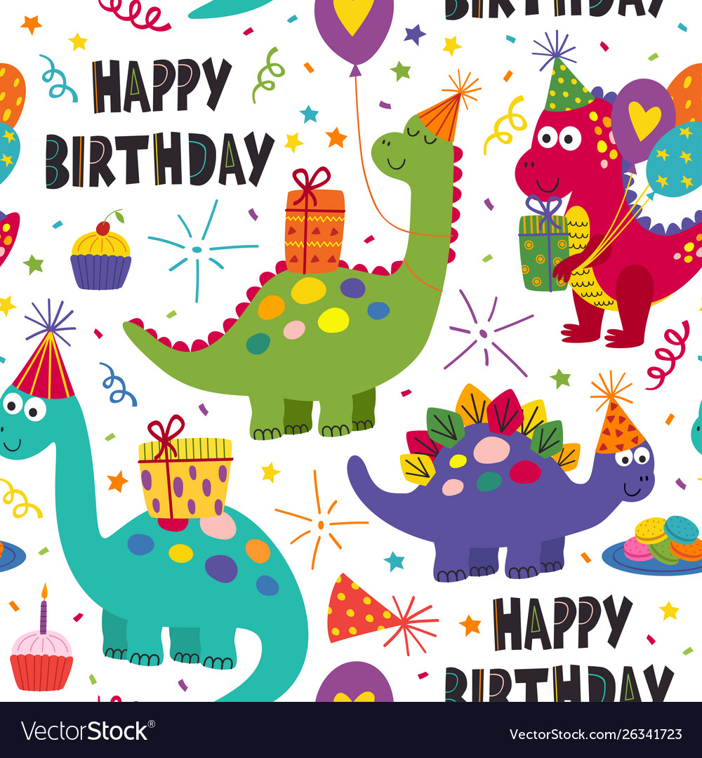 Seamless pattern with dinosaurs happy birthday
