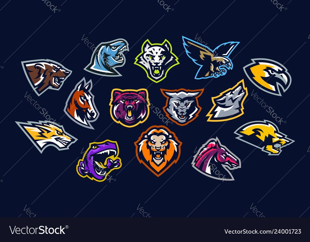 Set animal logos bear dinosaur eagle