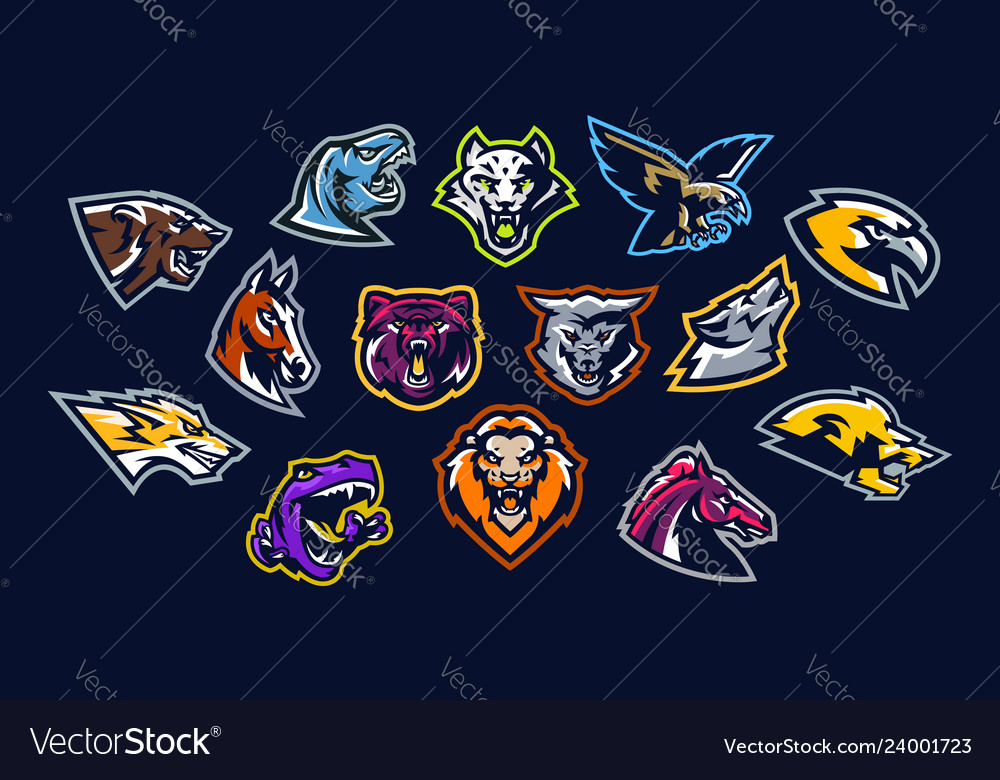Set of animal logos bear dinosaur eagle